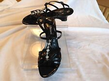 J. Renee Ladies Black Patent Leather Strappy Sandals In Size 12 ww