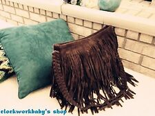 HIPPIE Suede Fringed Tassel Cross Body Messenger Bag Handbag Purse Boho gift x
