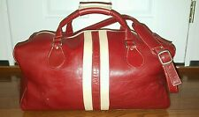 Latico Genuine Red All Leather Weekend  Duffle Travel Bag Suitcase (Clean)