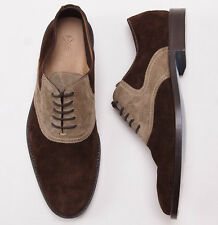 New $1050 SUTOR MANTELLASSI Two-Tone Calf Suede Saddle Shoes US 9 D Brown-Beige