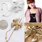 Women's Crystal Bowknot Pendant Long Necklace Rhinestone Butterfly Sweater Chain