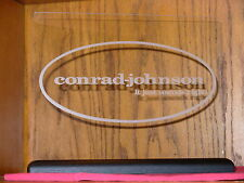 CONRAD-JOHNSON ETCHED GLASS SIGN W/BLACK OAK BASE