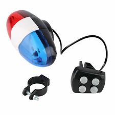 Bike Bicycle Cycling 4 Sounds 6 LED Police Car Siren Electric Light Horn Bell LY