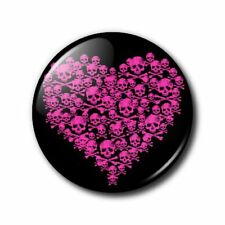 25mm Button Badge - Skull Heart - Pink and Black
