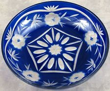 VINTAGE BOHEMIAN COBALT BLUE CUT TO CLEAR GLASS BOWL ~ FLORAL DESIGN ~ NOS ~