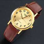 Casio MTP-1095Q-9B1 Men's Analog Watch Gold Face Brown Leather Band Quartz New