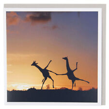 Happy Dancing Giraffes - Birthday Card, Thank You, Get Well Soon, Good Luck, Bye