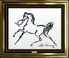 LeRoy Neiman Original Painting Authentic Hand Signed Horse Artwork Watercolor