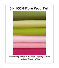 100% PURE WOOL FELT, ECO Friendly WALDORF STEINER 6 squares Green, Pink Shades