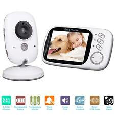 "Wireless 3.2"" Video Audio Baby Monitor + Thermometer Night Vision Camera EU V8D5"