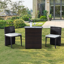 Outsunny 3pcs Outdoor Wicker Rattan Bistro Set Patio Chair and Table Set Garden