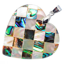 "Mother of Pearl Natural Abalone Sea Shell Heart Pendant 1 1/2"" Jewelry #01-Z"