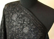 Kashmir Wool Shawl Black-on-Black Crewel Embroidery  India Embroidered Stole
