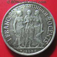 1907 DANISH WEST INDIES 1 FRANC / 20 CENTS SILVER THREE WOMEN BETTER GRADE COIN!
