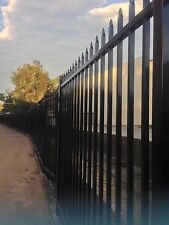 Heavy Duty Security Fence Spear Top 2.4M x 1.8M Black Panel (90mm Gap)