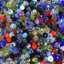 90 Abalorios 6x4mm Bolas de Cristal Facetadas Variadas Bisuteria Perline Beads