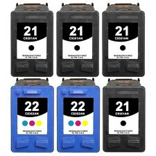 6-Set 21/22 Black/Color Ink Cartridges for HP Deskjet |F375 F378 F380 F385|