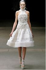 Alexander McQueen Runway 38 White Silk Embroidered $31,000 A/W 2012 Wedding WOW!