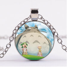 Photo Cabochon glass necklace Silver charms pendant(Totoro and friends