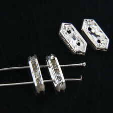 30pcs Silver Plated Rhinestone Hexagon 2 Hole Spacer Bar Beads Connectors