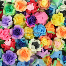 Wholesale 50pcs 15mm Mixed Polymer Fimo Clay Flower Loose Spacer beads SL95