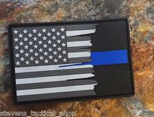 Subdued Tattered American Flag Thin Blue Line PVC Patch, Law Enforcement