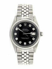 Mens Rolex Datejust Stainless Steel Watch Jubilee Band Black Diamond Dial 1603