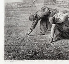 """Famous Jean-Francois MILLET 1800s Engraving """"The Gleaners"""" FREE FRAME Signed COA"""