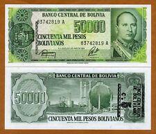 Bolivia, 1 centavo on 50,000 Pesos Bolivanos, ND (1987), P-196, UNC > ERROR