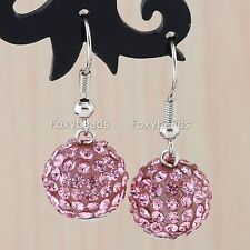 Hot Pink Crystal Disco Ball Beads Charm Dangle Hoop Women Eardrop Earrings 12mm