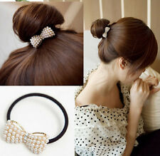 Fashion Crystal Pearls Bow Elastic Hair Band Scrunchie Ponytail Holder