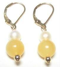 Genuine White Pearl & Yellow Jade 14K Gold Filled Lever Back Earrings