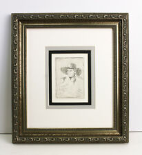 "WOW Antique 1800s REMBRANDT B330 Etching ""Young Man in a Cap"" Gallery Framed COA"