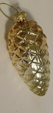 """Vintage Hand Blown Gold Glittered Glass Pine Cone Christmas Ornament 4"""""""