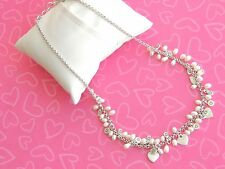 Brighton Necklace Precious Heart Pearl White Crystals Beading Rare Retired