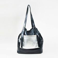 MM6 Maison Martin Margiela Black Silver Leather Front Pouch Buckled Tote Bag