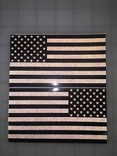 "5"" American Flag DARK Subdued Black/White 3M Black REFLECTIVE Stickers (x2)Decal"
