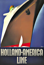 Art Ad Holland America Line  Ship Cruise Travel Deco Poster Print