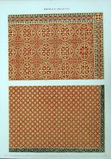 MINTON ENCAUSTIC CLAY CERAMIC TILE INLAID DESIGN ~  Antique 1851 Color Art Print