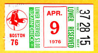 1976 OPENING DAY-ORIOLES JIM PALMER WIN #153 TICKET STUB-RED SOX-YAZ, FISK, RICE