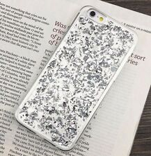 For iPhone 7 - Clear TPU Rubber Silicone Case Cover Sparkling SILVER Foil Bling
