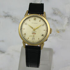 "Vintage Movado ""Bumper"" Auto with Day and Date Gold Bezel Screw back c1950's"