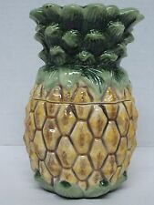 """Welcome"" Pineapple Canister Ceramic-air tight gasket-Hand Painted - 7"" Tall-New"