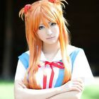 EVA Asuka Langley Soryu Orange Long Straight Cosplay Wig+Cat Ear Hat with Badges