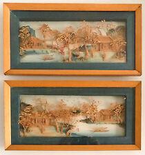 Paire de tableaux en diorama, paysage sculpté, Chine vers 1950.