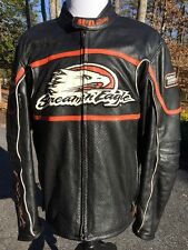 Rare Harley Davidson Raceway Screamin Eagle Leather Jacket Men's XL Black Armor