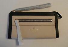 Kate Spade Black & Pebble Leather Sunset Court SABLE Zip Wristlet Wallet NWT