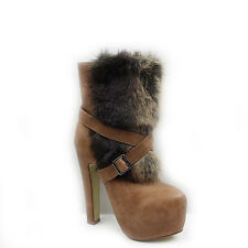 WOMENS LADIES FAUX FUR CONCEALED PLAFORM HIGH HEEL ANKLE BOOTS SHOES SIZE 3-8