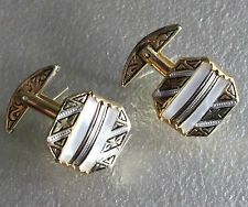 VINTAGE CUFFLINKS METAL MENS 1960'S 1970'S MOD GOLDTONE SPANISH SPAIN PEARLY