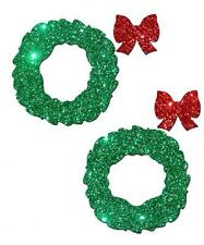 Pasties Christmas Glitter Wreath Green Red Bow Holiday Nipple Cover Dancer Sexy
